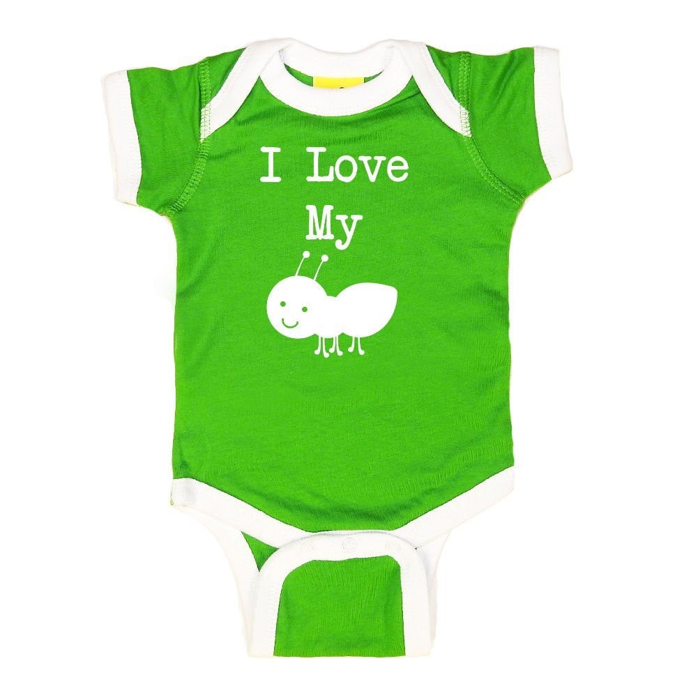 Mashed Clothing Unisex-Baby I Love My Aunt (Ant) Bodysuit (Apple/White, White Print, Newborn)