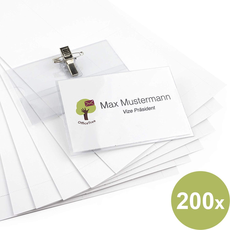 Officetree 200 Namensschilder Mit Halter Clip Und Ansteck Nadel Kunststoff Namensschild Für Visitenkarten Bis 90x55 Mm Namensschilder Für Kleidung