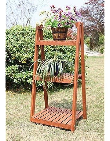 4db4ebbf4b4e garden mile Rustic 3 Tier Natural Hardwood Indoor/Outdoor Plant Theatre  Folding Portable Herb &
