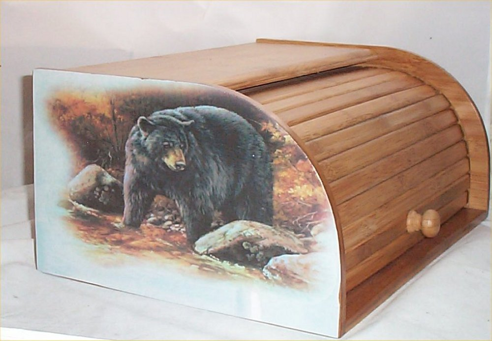 Amazon.com: Bear Bread Box Bamboo Wood Cabin Lodge Kitchen Decor Country  Black Bears: Kitchen U0026 Dining