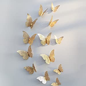 Xtore® 12pcs 3D Metallic Finish Home Decor Butterfly with Sticking Pad(Shimmer Golden)(Set of 12)