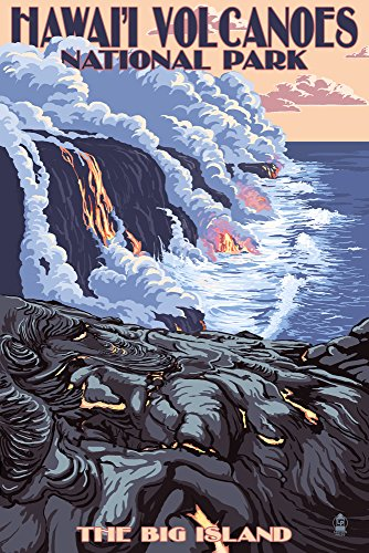 The Big Island, Hawaii - Lava Flow Scene (24x36 SIGNED Print Master Giclee Print w/ Certificate of Authenticity - Wall Decor Travel Poster) by Lantern Press