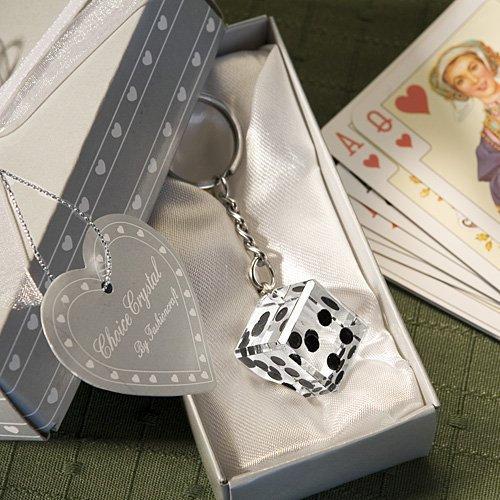 Las Vegas Wedding Themed Chrome Keychain w- Crystal Dice, 1