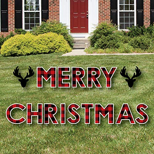 Big Dot of Happiness Prancing Plaid - Yard Sign Outdoor Lawn Decorations - Reindeer Holiday and Christmas Party Yard Signs - Merry Christmas
