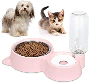 Dog Cat Bowls Food and Water Bowls Set, Automatic Water Dispenser Durable & Detachable Stainless Feeder Double Pet Bowls for Small Cats and Dogs Puppies