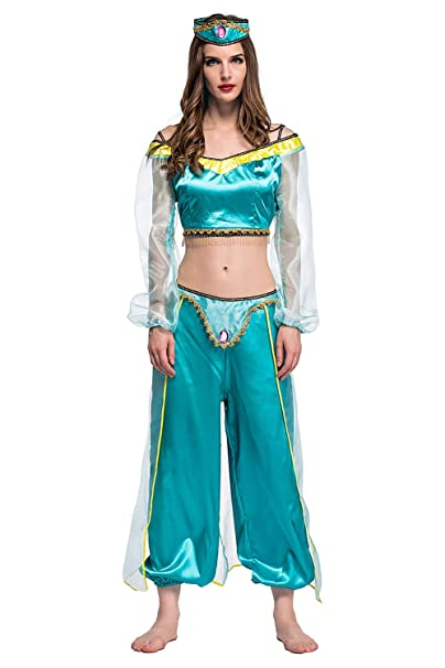 SIDNOR Halloween Aladdin Princess Jasmine India Belly Dance Arabian Exotic Fancy Dress Blue Cosplay Costume