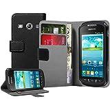 Membrane - Noir Portefeuille Étui Coque Samsung Galaxy Xcover 2 II (GT-S7710 / S7710L) - Flip Case Cover + 2 Films de protection d'écran