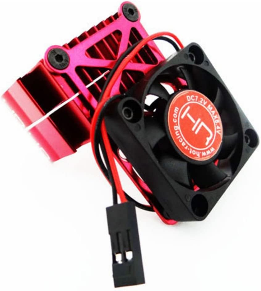 Hot Racing Clip-On Two-Piece Motor Heat Sink with Fan, Red, HRAMH550TE02