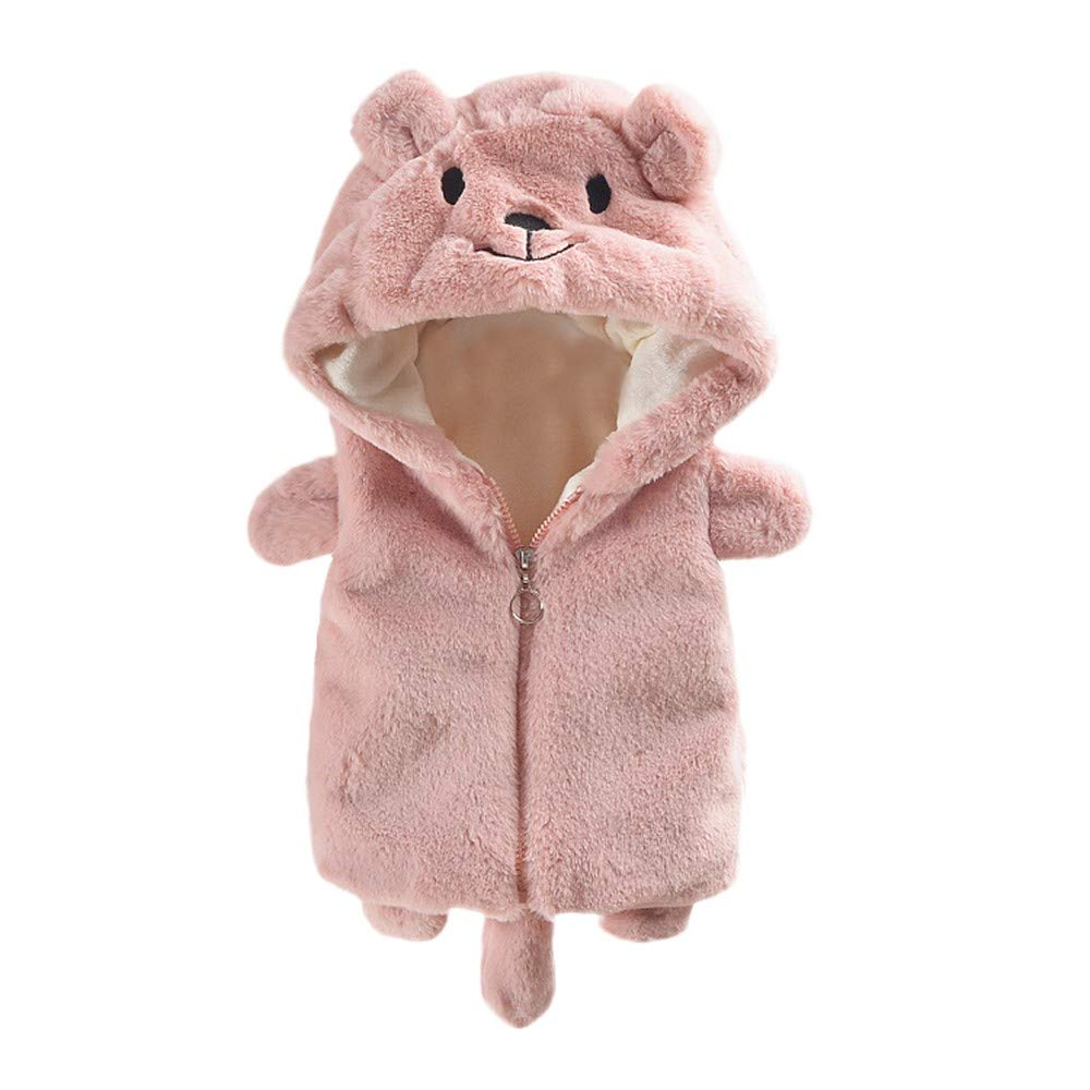 Little Kids Winter Warm Sleeveless Coat,Jchen(TM) Clearance! Toddler Kids Baby Girl Boys Sleeveless Cartoon Bear Hooded Waistcoat Thick Warm Outerwear for 0-3 Y (Age: 18-24 Months, Pink)