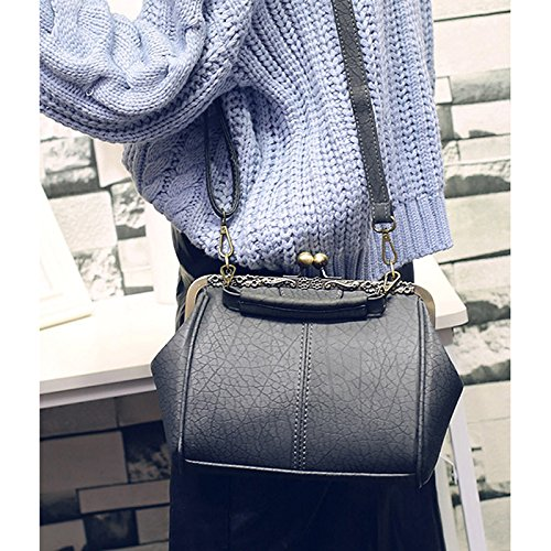 Abuyall Pu Minimaliste paule Dames Kiss Sac Pt2 Sac Appliques Cha nes Satchel Main Purse Lock Sac Bandouli¨¨re Cuir Retro Totes Diamants w0xBq0