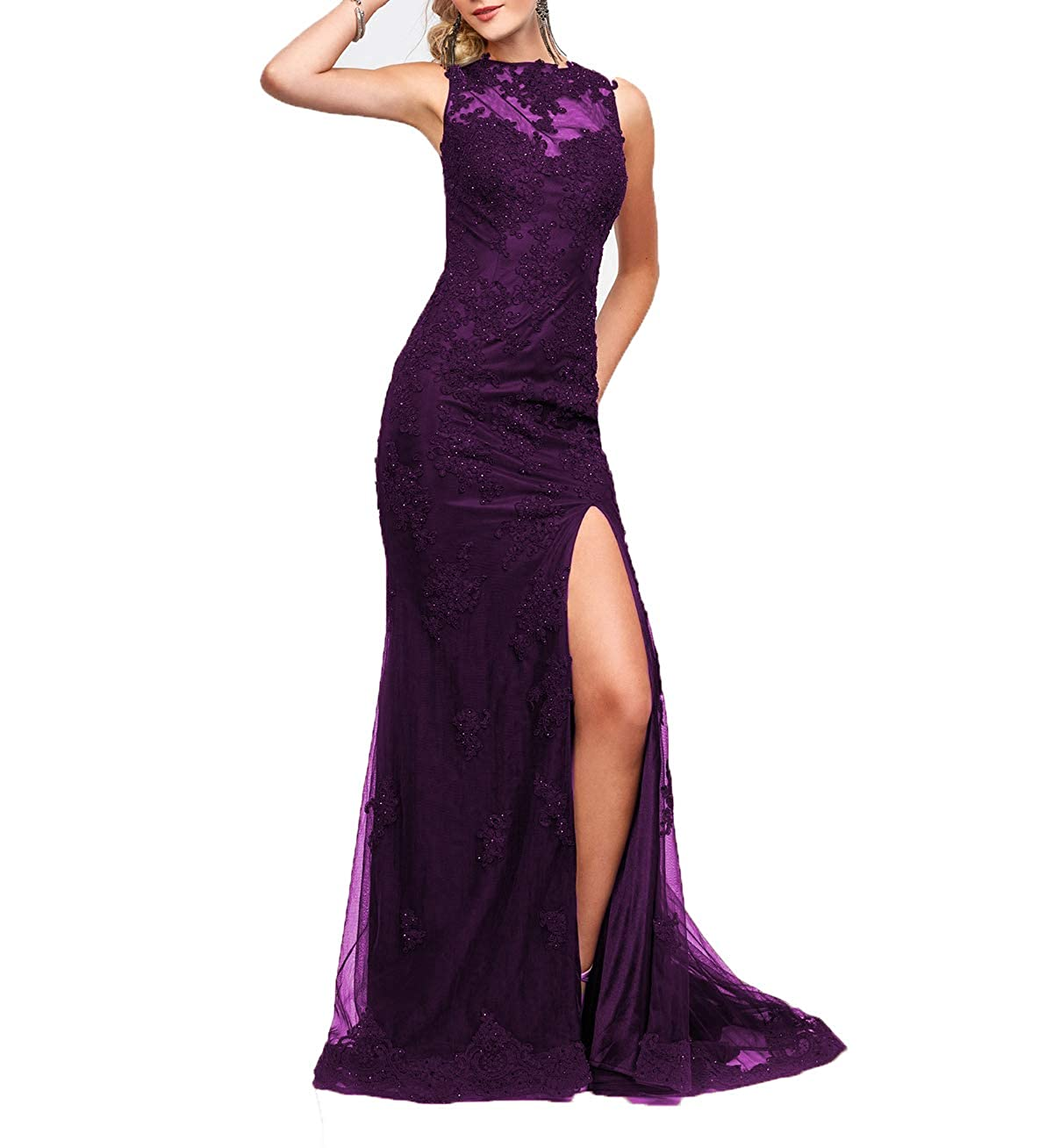 Darkmagenta Wanshaqin Cap Sleeveless Lace Mermaid Prom Formal Dresses Evening Cocktail Dress Bridesmaid Gowns for Events Party