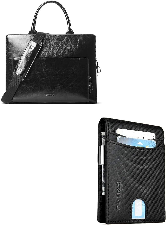 BOSTANTEN Leather Briefcase Shoulder Laptop Business Vintage Slim Bags for Women & Men+BOSTANTEN Leather Wallets for Men Bifold Money Clip Slim Front Pocket RFID Blocking Card Holder Black