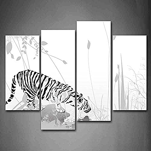 Korean Fashion Tiger Stand On Stone Drink Water Wall Art Painting Print On Canvas Animal Pictures Wall Decor