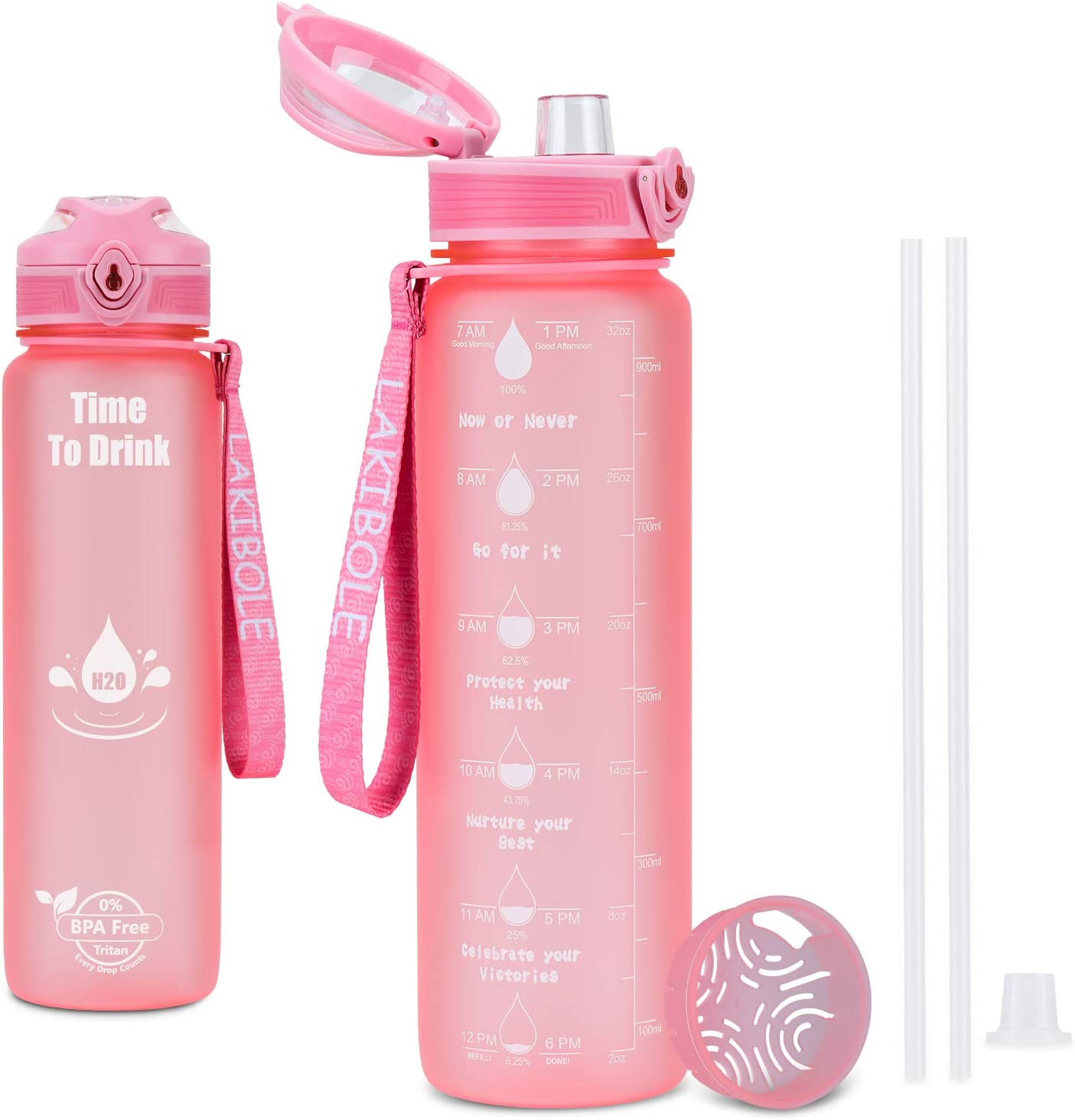 32 oz Water Bottle with Time Marker with Straws, Time to Drink Water Bottle for Office, Gym, Home, Health Gift - Pink