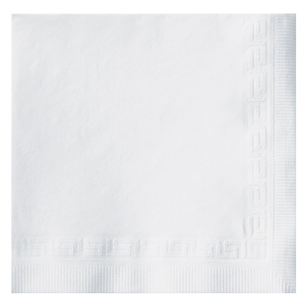 "Hoffmaster 010102 Premium Beverage Napkin, Greek Key Embossed, 3-Ply, 1/4 Fold, 10"" Length x 10"" Width, White (Case of 800)"