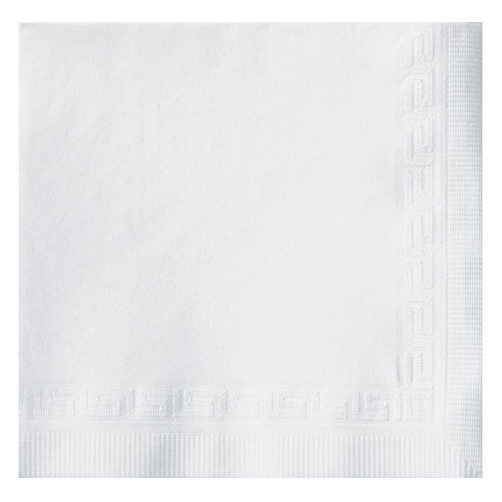 Hoffmaster 010102 Premium Beverage Napkin, Greek Key Embossed, 3-Ply, 1/4 Fold, 10'' Length x 10'' Width, White (Case of 800)