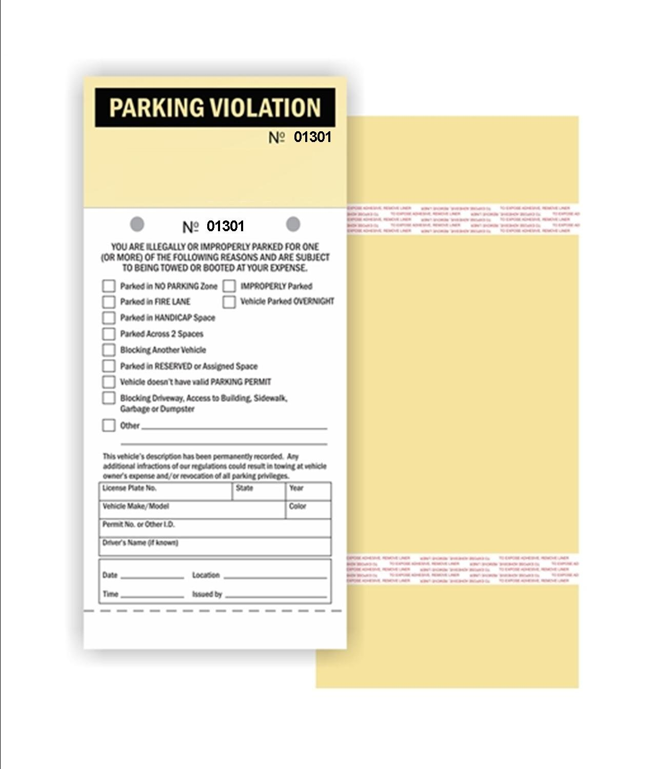 Parking Violation - 2 Part Carbonless Manila Tag with Perforation Stub and Adhesive Strips, 4.25'' x 9.25'', Consec. Numbered - 50 / Pack (No. 1301-1350)