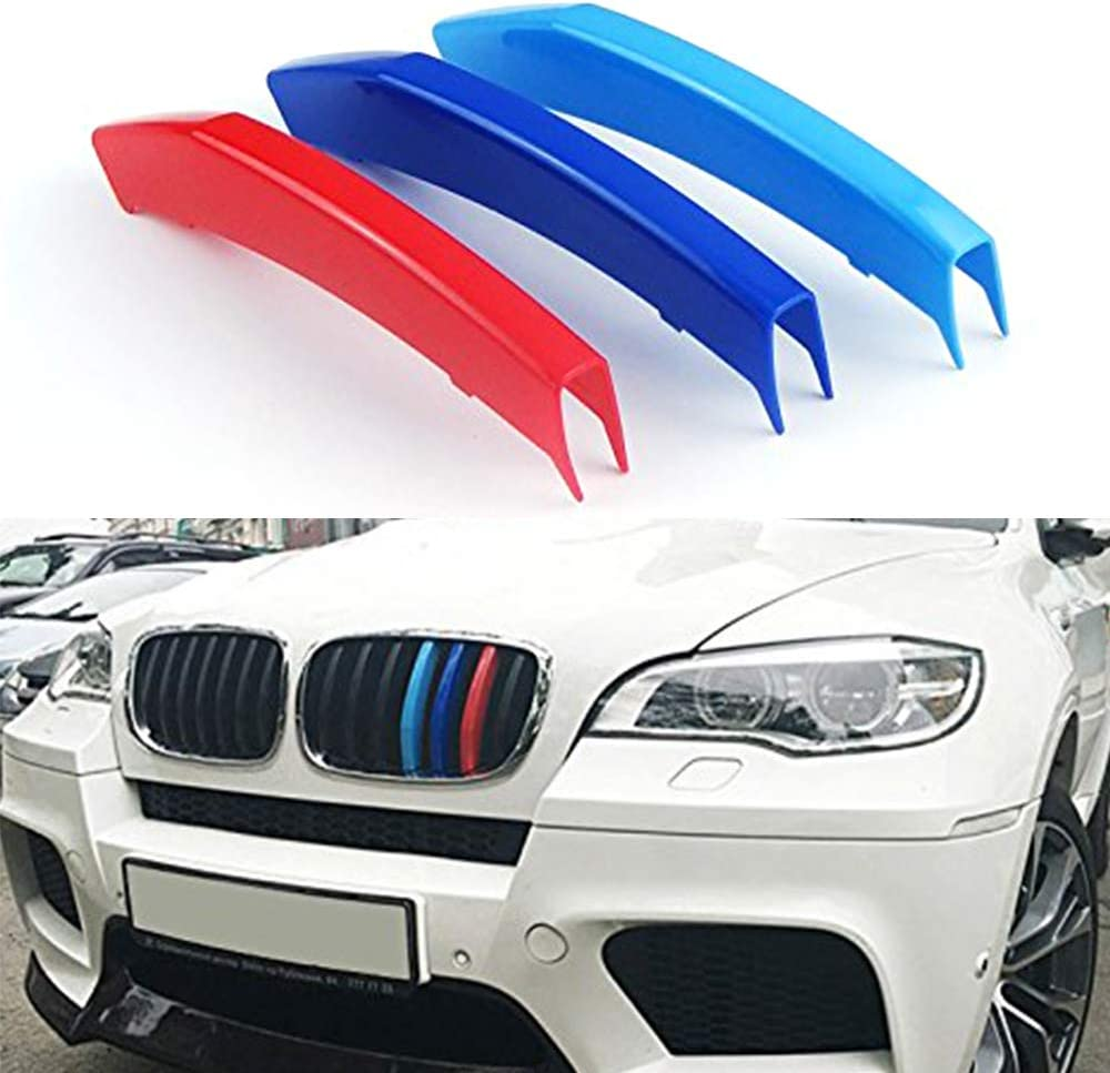 3D Front Grille Strips Motor sports M Color Insert Trim Grill Cover Stickers Decoration For B M W X6 F16 2015-2017 7 Grille