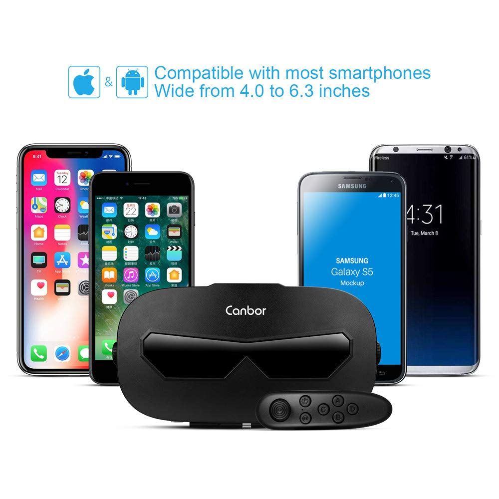24d5b60f93ec Canbor VR Headset with Remote Controller Virtual Reality Headset VR Goggles  for 3D Movies and Games ...