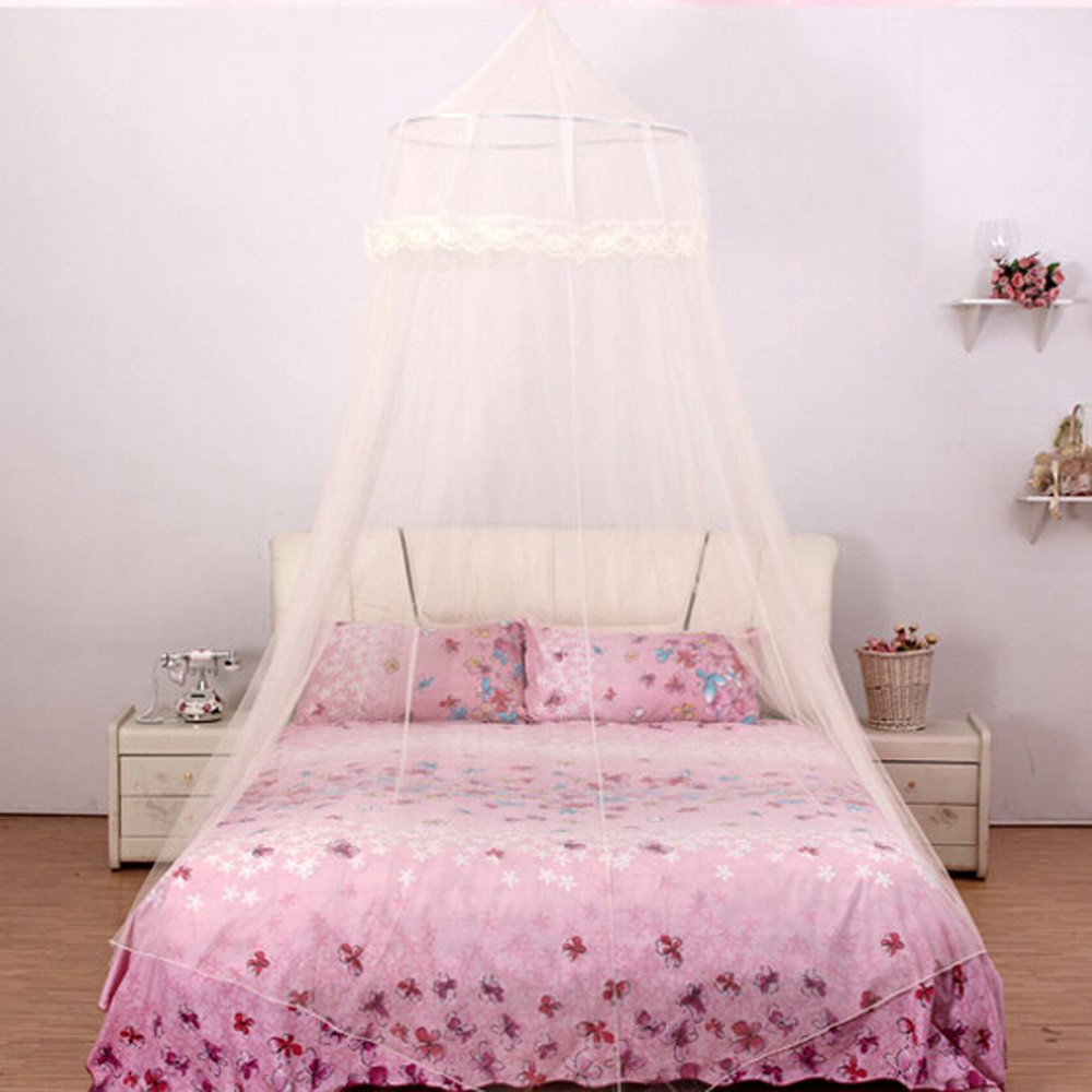 Pink Mosquito Net Canopy Netting Canopy Lace Dome Bed Canopy Easy Installation Hanging Bed Curtains for 2.2 M or Less Size Bed 1PC