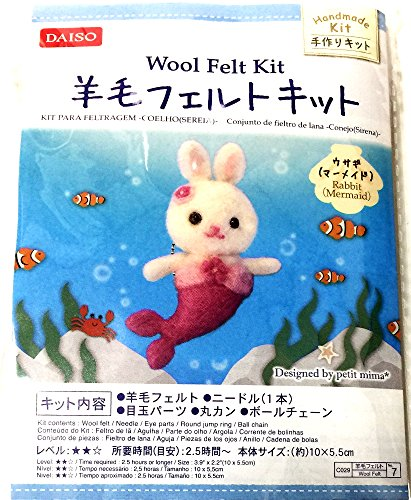 Handmade Wool Felt Kit Needle Felting set – Rabbit (Mermaid)