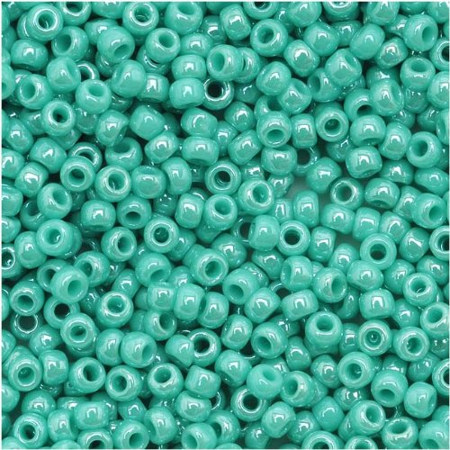 Toho Round Seed Beads 11/0 #132 'Opaque Lustered Turquoise' 8 Gram Tube