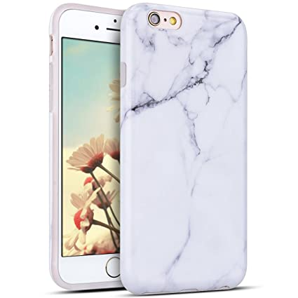 Funda iPhone 6 Plus, E-Lush Mármol Suave Silicona TPU Carcasa Ultra Delgado Flexible Gel Parachoques Goma Mate Opaco Case Cover iPhone 6s Plus Bumper ...