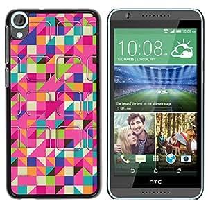 Be Good Phone Accessory // Dura Cáscara cubierta Protectora Caso Carcasa Funda de Protección para HTC Desire 820 // Ski Colorful Pink Pattern
