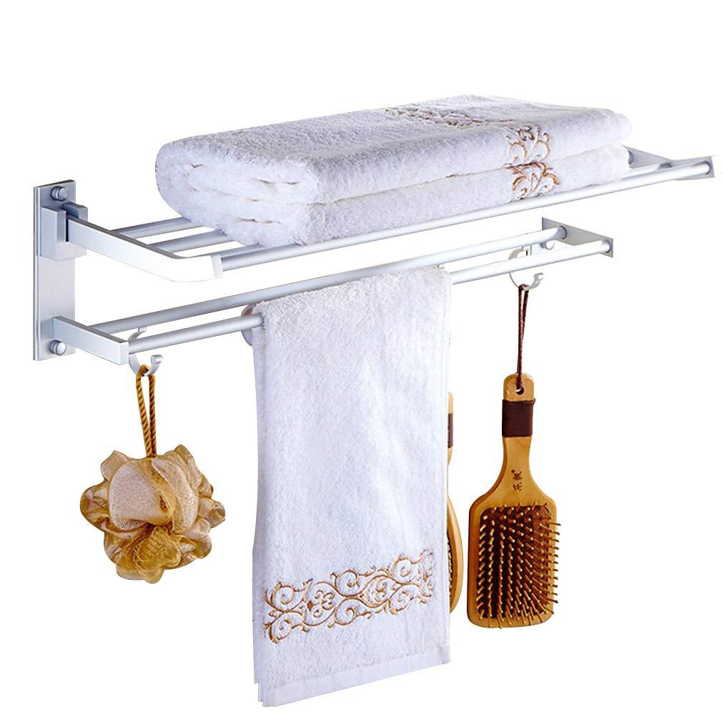 Holarose Bathroom Aluminum Storage Shelf, 2-Tier Antirust Wall Mouted Towel Rack with 5 Hooks 50cm(19.69'')
