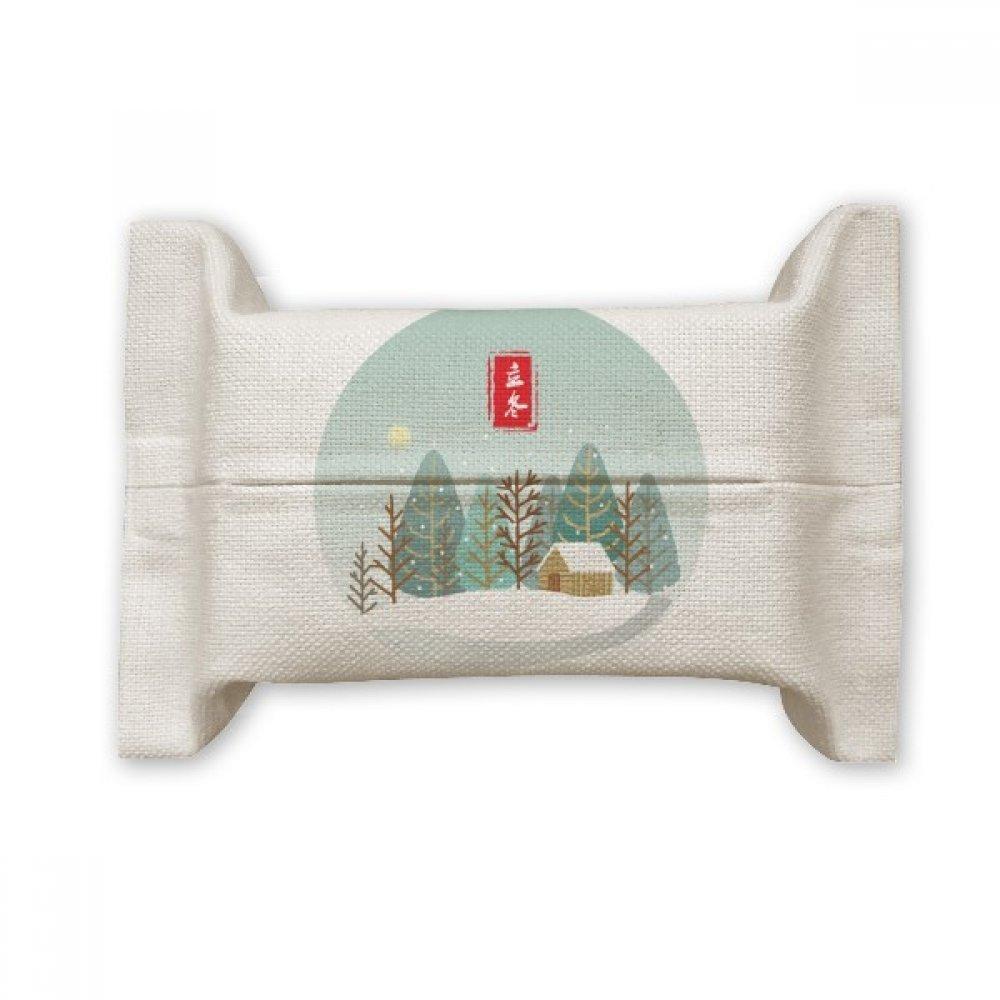 DIYthinker Circular Winter Begins Twenty Four Solar Term Cotton Linen Tissue Paper Cover Holder Storage Container Gift