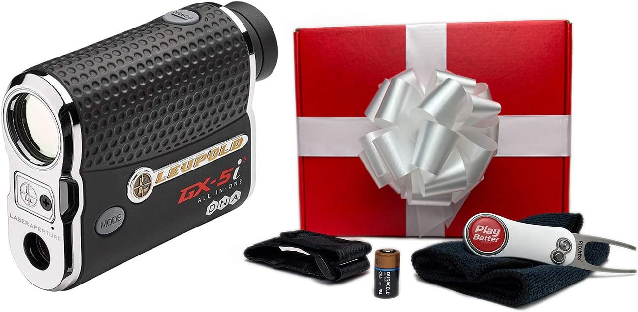 Leupold GX-5i3 Rangefinder Gift Box Bundle PlayBetter Microfiber Towel, Extra CR2 Battery, PlayBetter Pitchfix Divot Tool Magnetic Cart Mount True Range Slope Function