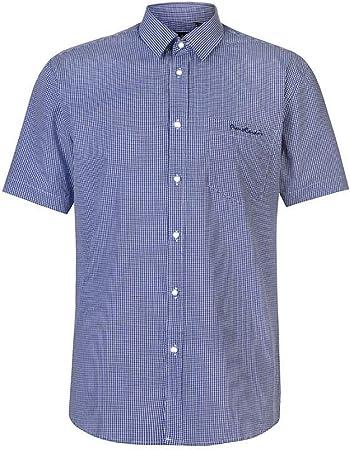Camisa estampada de manga corta para hombre Pierre Cardin con bordado de firma,Luce impecable en cua