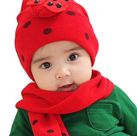 Amazon.com: Kanggest Hat Scarf Set Coccinella Scarf Thicken Winter Cap for Baby Girls Boys: Clothing