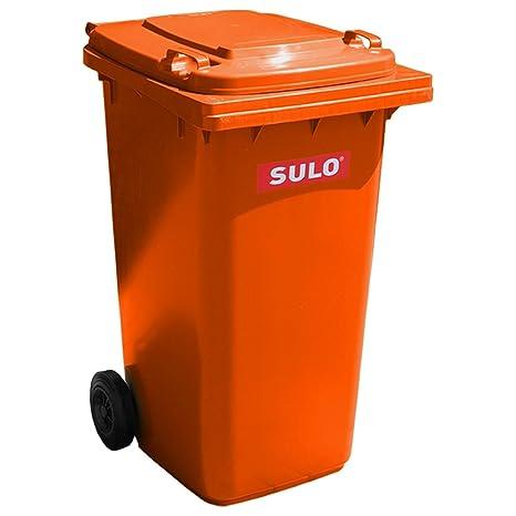 Cubo de basura 2 ruedas, contenedor a basura SULO 240 litros, naranja (22292