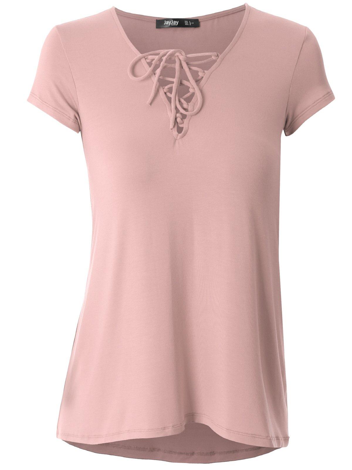 JayJay Women Cute Crisscross Neck Short Sleeve Casual Shirt Top,INDIPINK,3XL