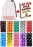 Dice Gaming Set 100 Six Sided Dice 10 Colors With Storage Bag - 50 Dice Games Book Included