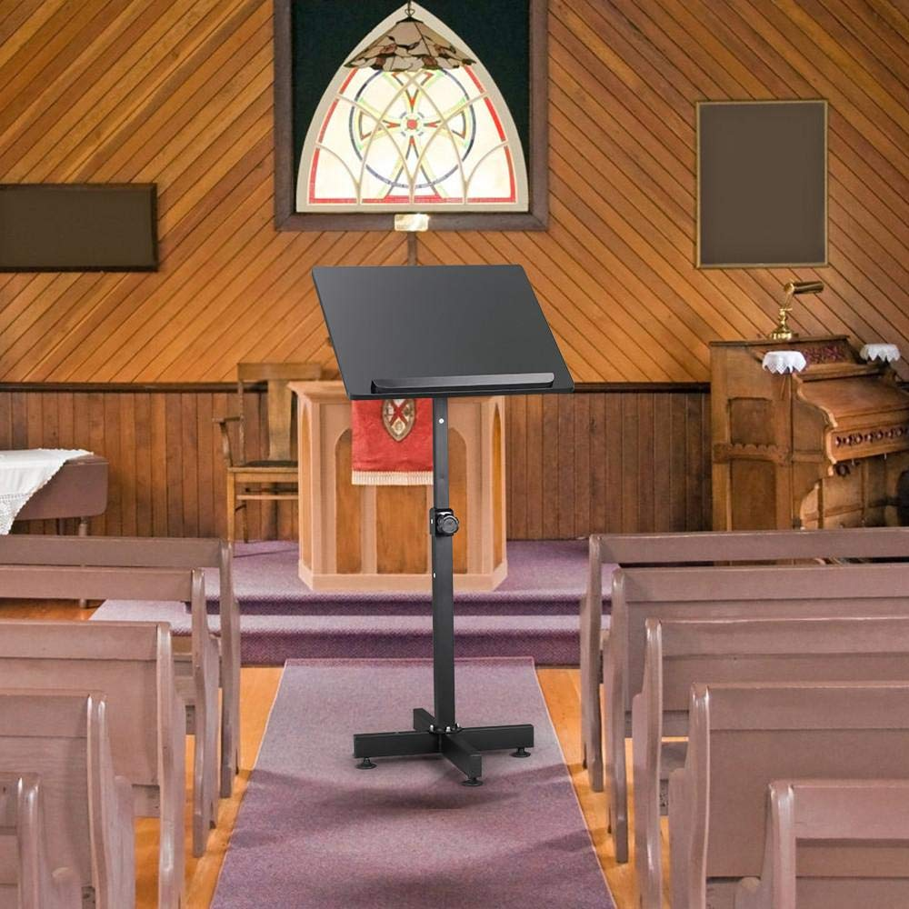 Yaheetech Stand Up Lectern Stand Height Adjustable Presentation Podium Stand Portable Black