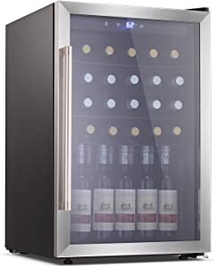 Antarctic Star Beverage Refrigerator Cooler-120 Can Mini Fridge Glass Door for Soda Beer or Wine – Glass Door Small Drink Dispenser Machine Touch Screen for Home, Office or Bar, 4.5cu.ft.