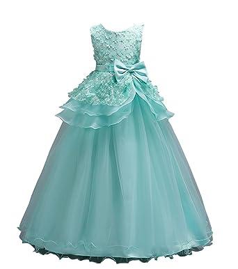 Mingxuerong Girls Fluffy Organza Wedding Flower Girls Ball Gowns