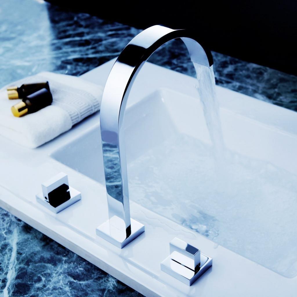 Aquafaucet Waterfall 8-16 Inch Chrome Finish 3 Holes 2 Handles ...