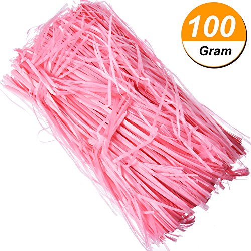 Hestya 100 Gram Easter Basket Grass Craft Shred Paper Shredded Tissue Paper for Packaging Filling (Pink)