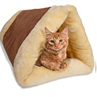 Petslover Cat Bed Cave House Bed - Best for Indoor Cats Houses Heated Kitten Warm Pet Self Warming w/Hoods Caves Igloo Covered Pod Felted Faux Felt Wool Cocoon (Adult Cat, Brown)