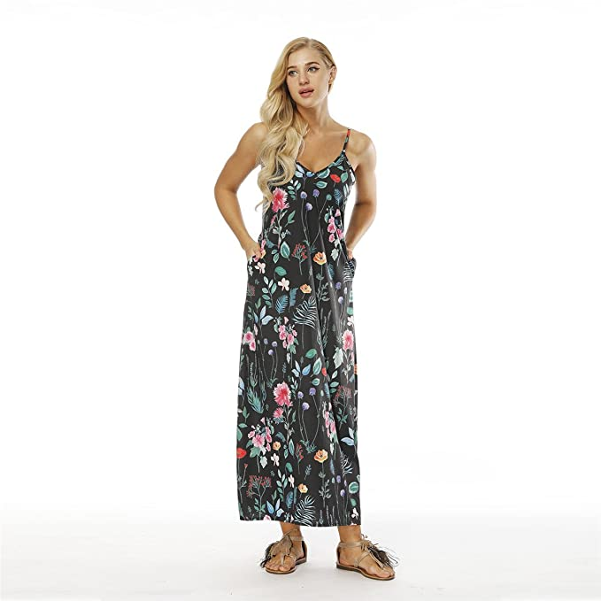 75547b9de1 AMOMA Women s Casual Maxi Dress with Pockets Spaghetti Strap Sleeveless  V-Neck Summer Beach Long