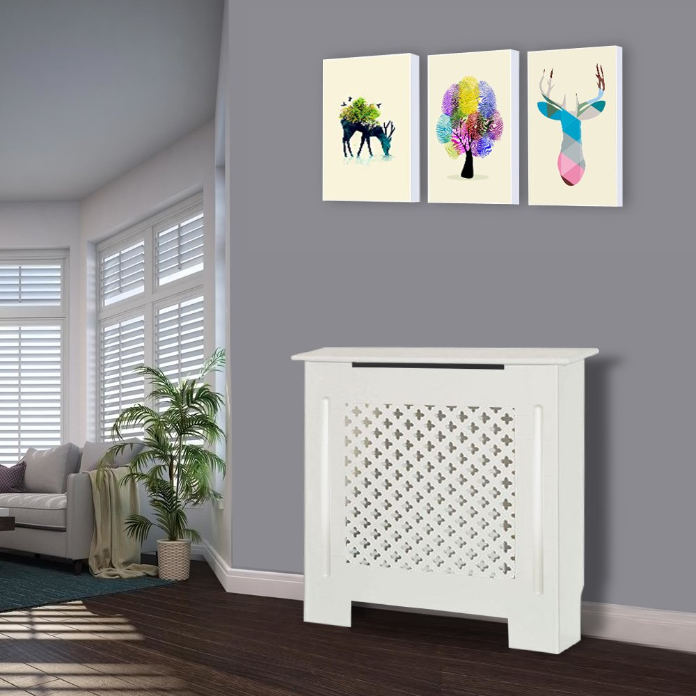 Greenbay Traditional Radiator Cover MDF Cabinet White Painted Small - 780 x 815 x 190(mm) Manufactured for Greenbay