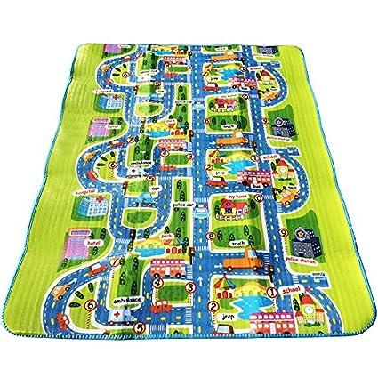 Alfombra de juego para niños 0,5 cm de espesor Diseño de ciudad con tráfico 160 X 130cm