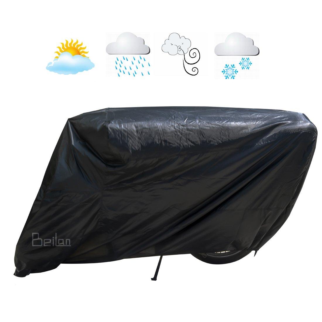 Noir Housse pour moto Pare-soleil imperméable à l'eau Protection UV Housse de moto Couverture de pluie de poussière avec élastiqué Hems Toute la saison en salle de plein air Protection Convi