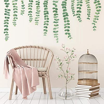 Pearls Vine Wall Decals Hanging Branch Peel and Stick Wall Stickers Watercolor Green Strings Home Decor for Kitchen Living Room: Arts, Crafts & Sewing
