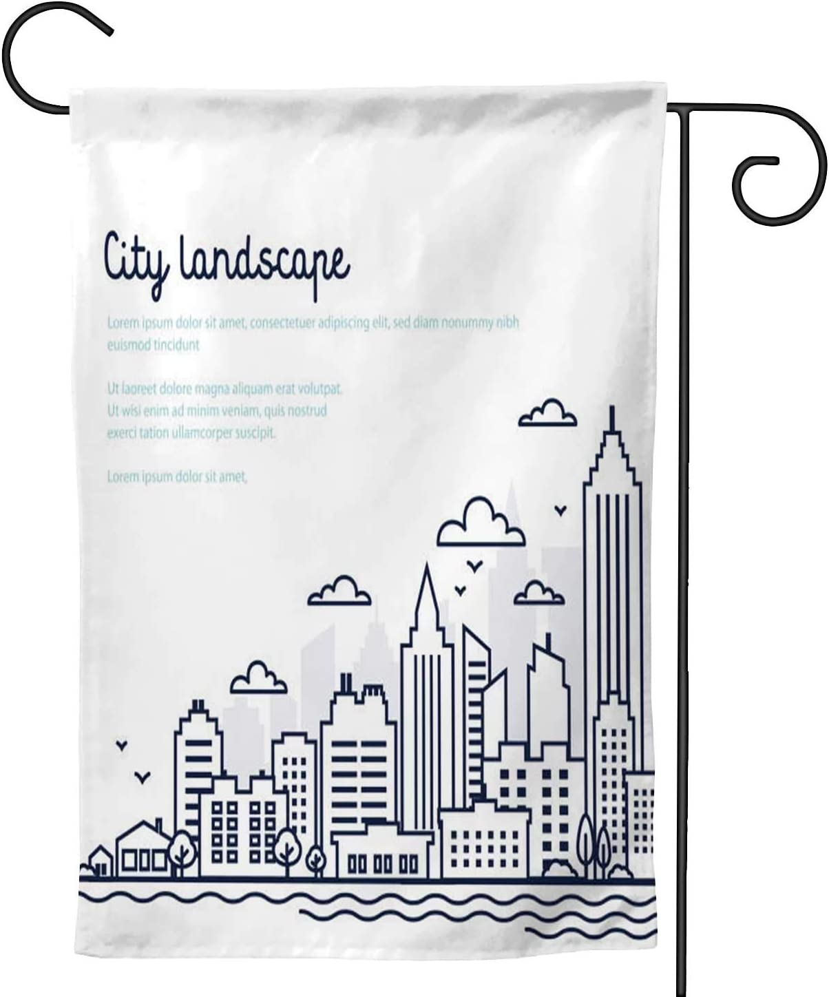Cit landscape template.Thin line landscape.Downtown with high skscrapers.Panorama architecture Government buildings Isolated outline -.Urban life - Midtown,Decorative Outdoor Flag Sign,House ard Ga