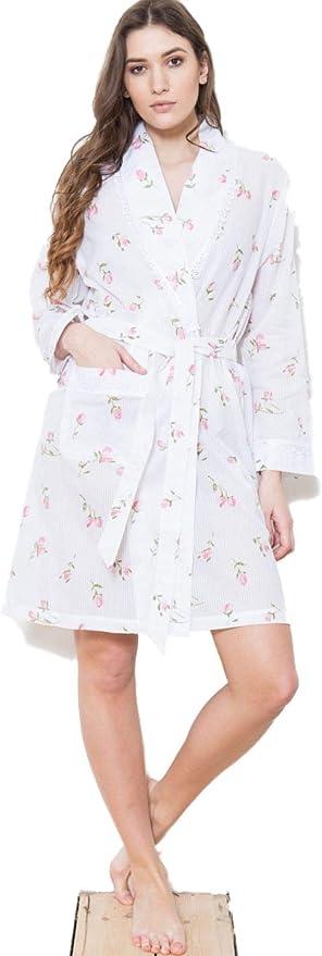 Albornoz para mujer, estampado floral, 100% algodón, para mujer
