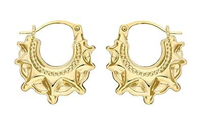 Adara 9 ct Yellow Gold Creole Earrings hNgnCPoqX